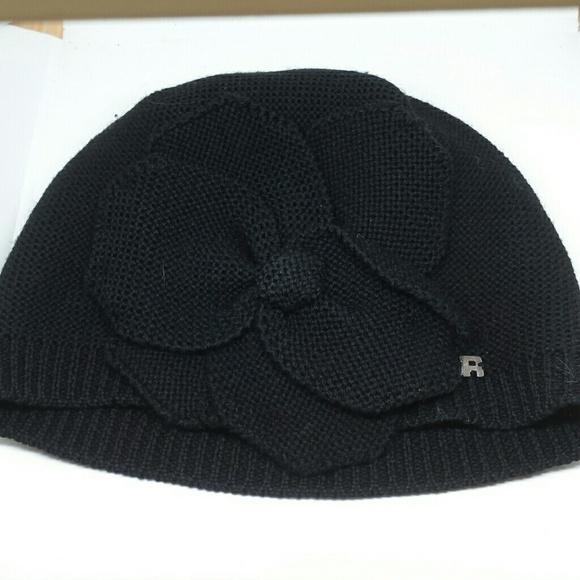 d6123b4ec33 Sonia Rykiel Black wool beanie winter hat w flower.  M 5a64fe4f61ca10f2d3bb5342